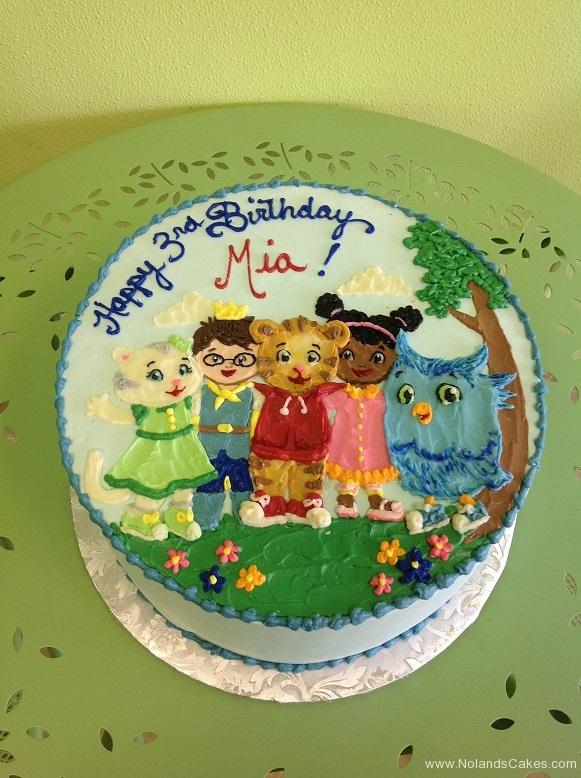 392, 3rd birthday, third birthday, daniel tiger, cartoon, tiger, cat, owl, blue, green, tree