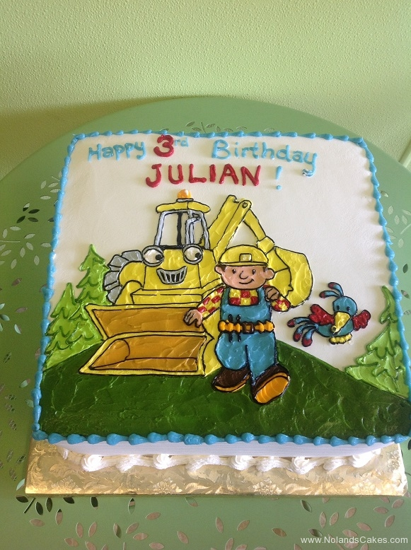 411, 3rd birthday, third birthday, bob the builder, construction, backhoe, tonka, blue, white, green
