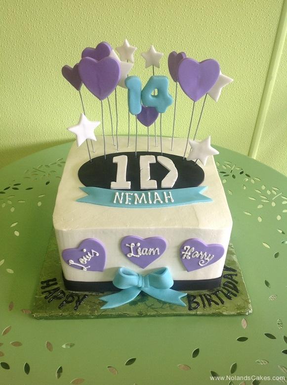 287, 14th birthday, fourteenth birthday, one direction, white, blue, black, purple, star, stars, bow, bows, heart, hearts