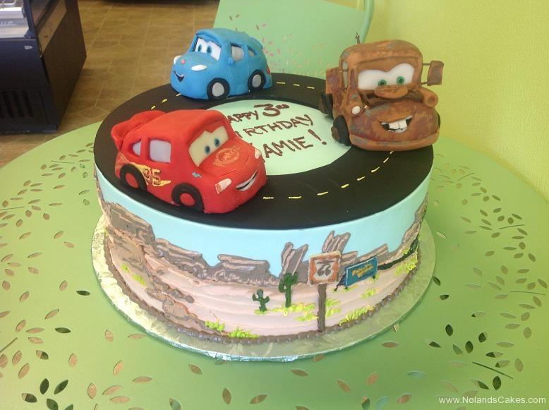 723, 3rd birthday, third birthday, cars, lightning mcqueen, mater, sally, desert, road, street, blue, red, black