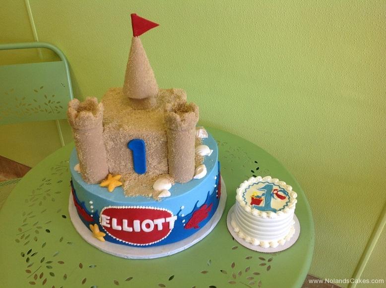 439, first birthday, 1st birthday, castle, sand castle, beach, ocean, sea, blue, red, smash cake