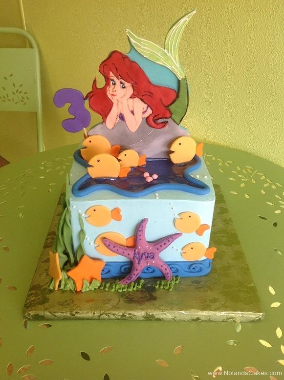 774, third birthday, 3rd birthday, ariel, little mermaid, disney, disney princess, princess, water, ocean, sea, starfish, fish, blue