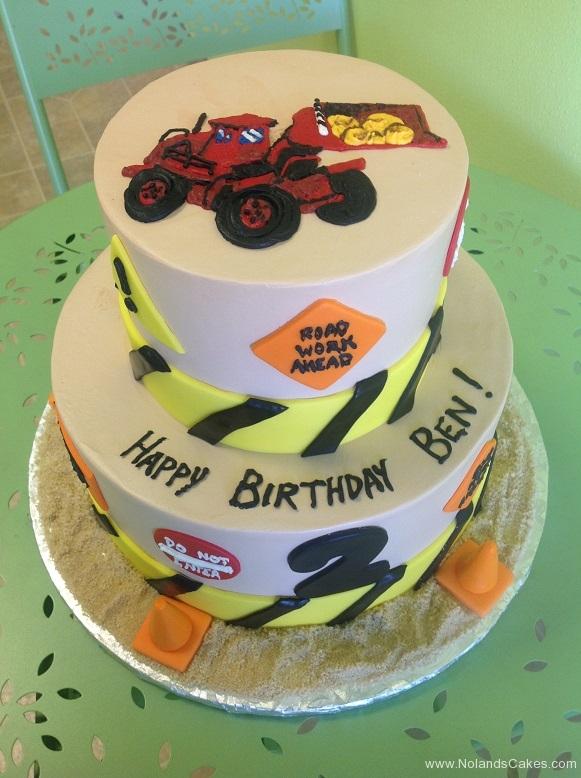 571, birthday, construction, white, road work, street, road, tractor, bobcat, orange, yellow