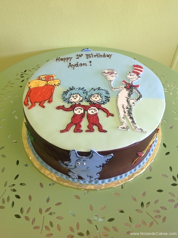815, first birthday, 1st birthday, dr seuss, seuss, cat in the hat, thing one and thing two, thing 1 and thing 2, lorax, horton, blue, brown