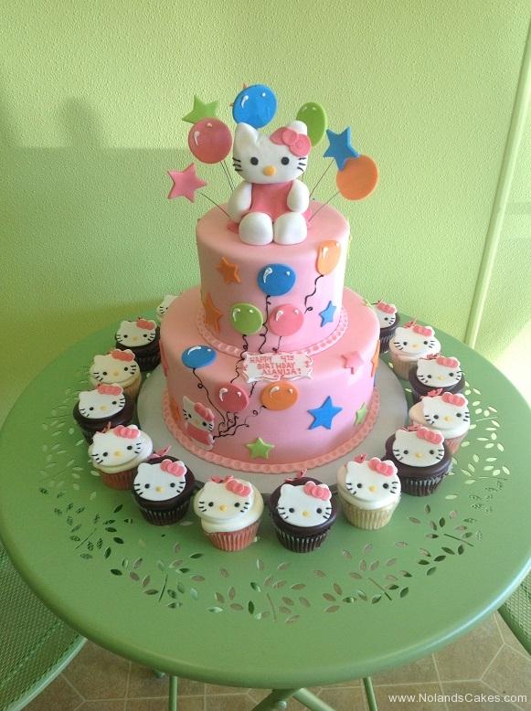 830, fourth birthday, 4th birthday, hello kitty, cupcakes, star, stars, balloon, balloons, pink