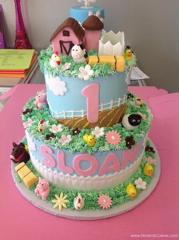 978, first birthday, 1st birthday, farm, farmyard, barn, barnyard, sheep, cow, chicken, duck, horse, fence, pink, blue, green, flower, flowers