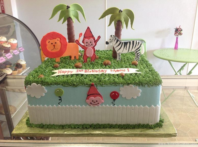 1109, first birthday, 1st birthday, zoo, jungle, lion, monkey, zebra, tree, trees, green, blue