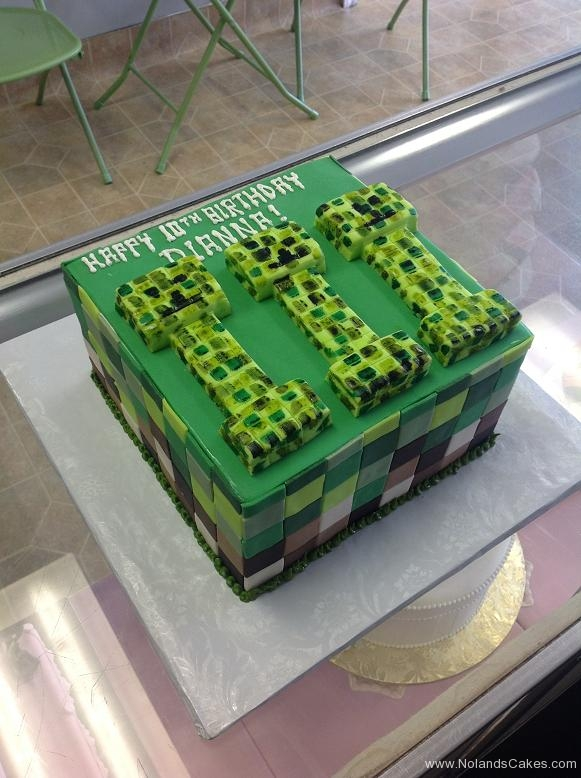 1168, 10th birthday, tenth birthday, minecraft, creeper, green, square, squares, tile, tiled