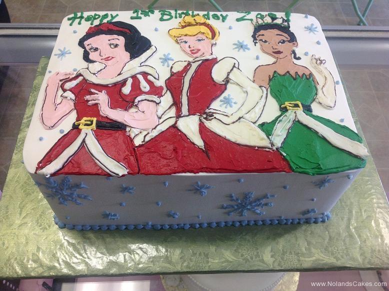 1191, first birthday, 1st birthday, snow white, cinderella, tiana, disney, disney princess, princesses, red, green, snow, snowflake, snowflakes, winter, christmas