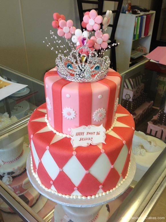 1206, 16th birthday, sixteenth birthday, princess, tiara, crown, pink, stripe, stripes, diamond, diamonds, white, tiered