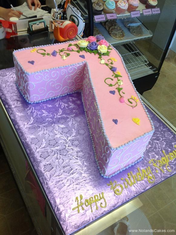 1354, 7th birthday, seventh birthday, flower, flowers, pink, swirl, swirls, purple, heart, hearts