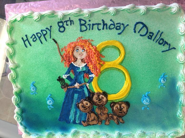 1360, 8th birthday, eighth birthday, brave, merida, disney, princess, bears, bear, cubs, blue, yellow
