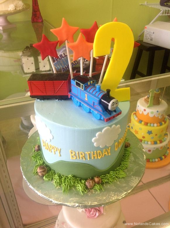 1395, second birthday, 2nd birthday, tain, thomas the tank engine, thomas, star, stars, grass, green, yellow, blue