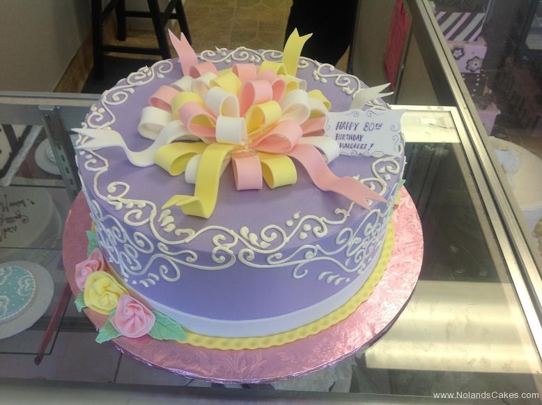 1415, 80th birhtday, eightieth birthday, purple, swirl, bow, bows, ribbon, ribbons, flower, flowers, pastel, purple, white, pink, yellow
