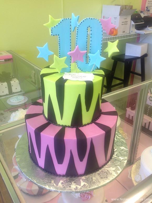 1434, tenth birthday, 10th birthday, stripe, stripes, tiger, bright, neon, green, pueple, black, star, stars, blue, tiered
