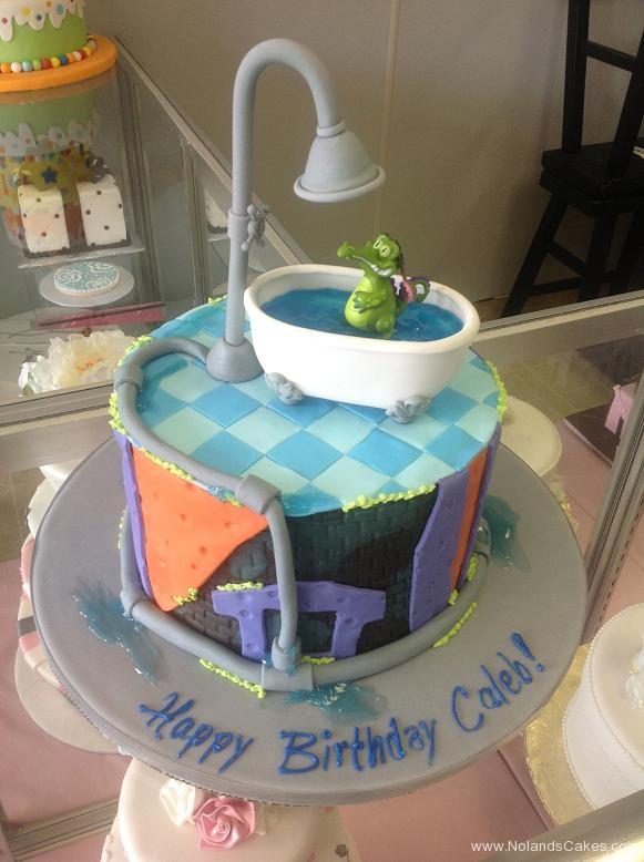 1529, birthday, tub, water, bathroom, pipes, plumbing, shower, alligator, crocodile, splash, blue, purple, orange