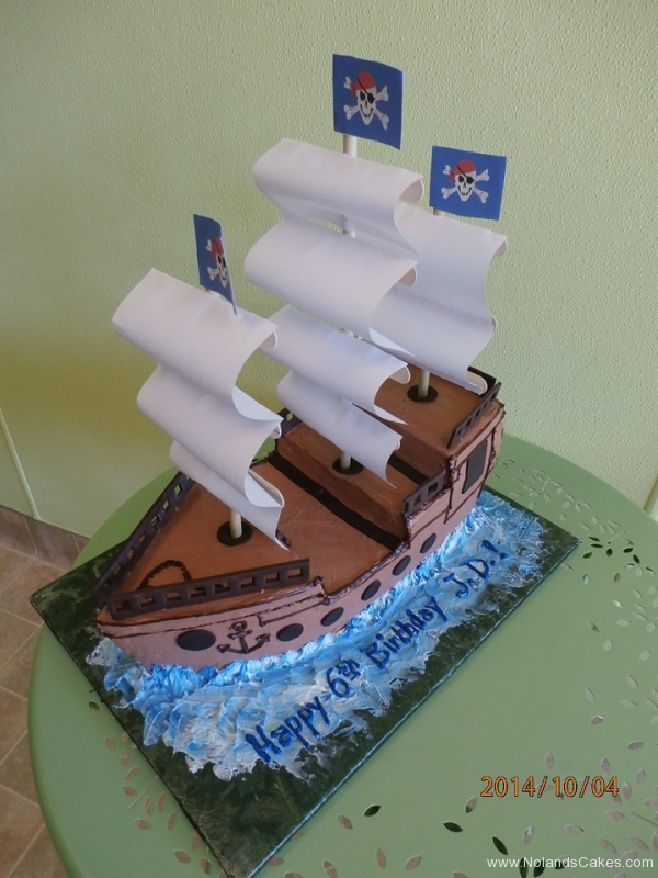 1679, sixth birthday, 6th birthday, ship, pirate, galleon, skull, flag, ocean, sea, water, waves, carved