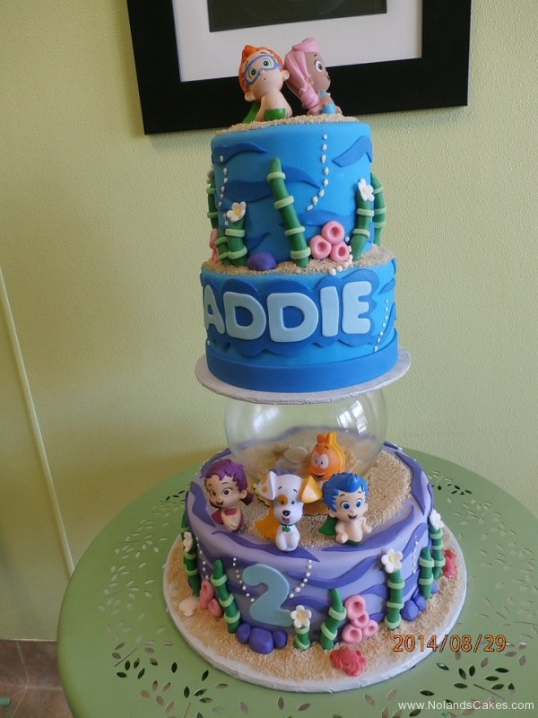 1594, second birthday, 2nd birthday, bubble guppies, blue, water, ocean, sea, fishbowl, blue, green, tiered