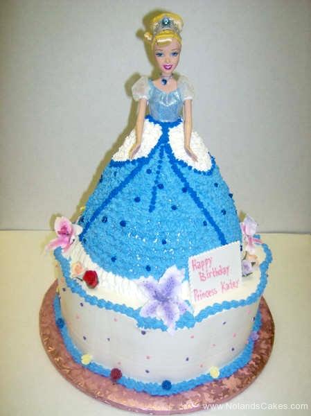 1720, birthday, barbie cake, cinderella, dress, carved, princess, blue, flower, flowers, white, tiered