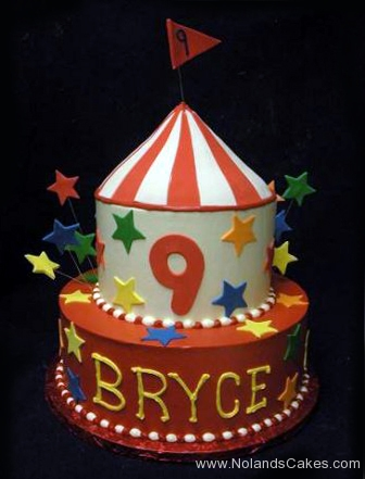 1730, 9th birthday, ninth birthday, bright, primary, circus, carousel, red, blue, yellow, white, green, tiered