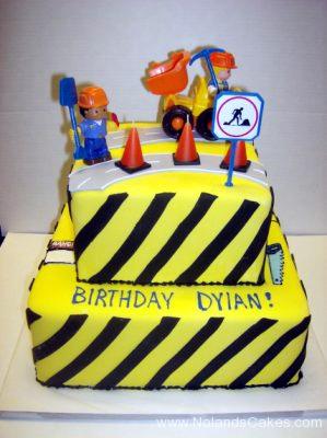 1740, birthday, construction, yellow, black, stripe, tonka, digger, dig, cones