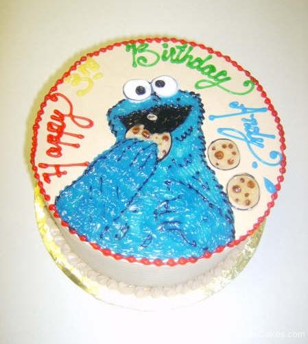 1748, 3rd birthday, third birthday, cookie monster, sesame street, blue, red, yellow, green