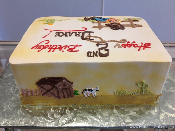 1756, 2nd birthday, second birthday, cowboy, horse, ranch, pasture, boots, hat, barn, cow, barnyard, brown, red, blue