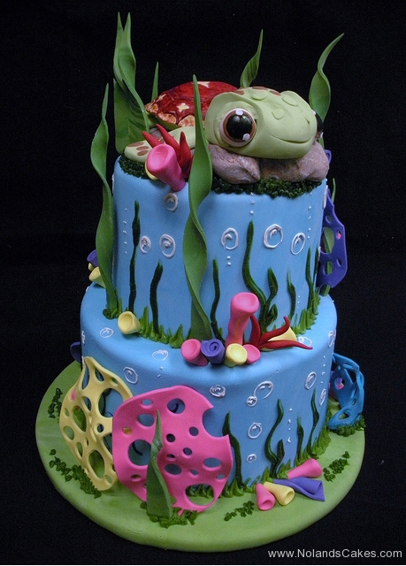 1807, birthday, turtle, sea turtle, squirt, crush, nemo, finding nemo, ocean, sea, water, underwater, blue, green, pink, tiered