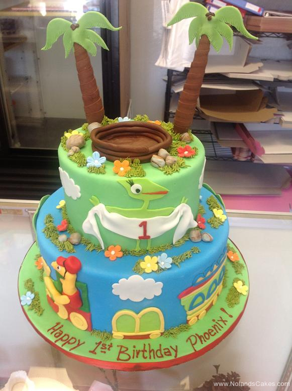 1816, first birthday, 1st birthday, dinosaur train, blue, green, forest, jungle, tree, trees