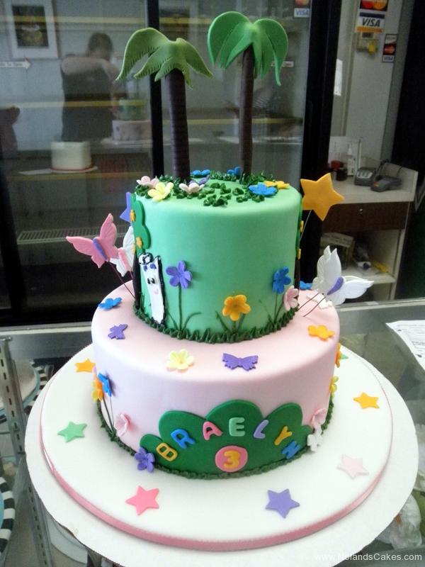1845, 3rd birthday, third birthday, forest, jungle, flower, flowers, butterfly, butterflies, star, stars, blue, green, pink, tiered