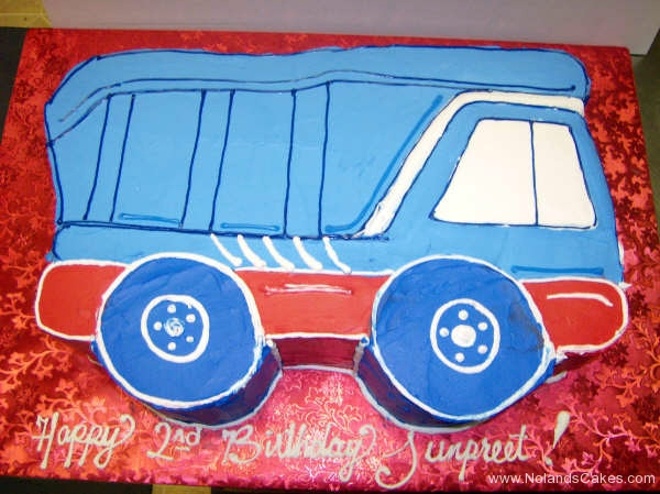 1873, birthday, dump truck, construction, blue, red, white, carved