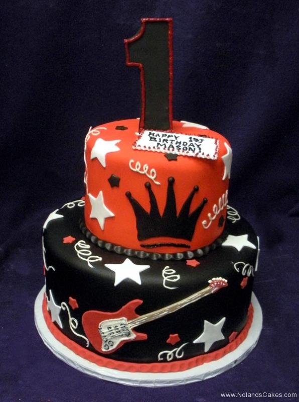 1875, first birthday, 1st birthday, star, stars, guitar, crown, red, black, white, tiered