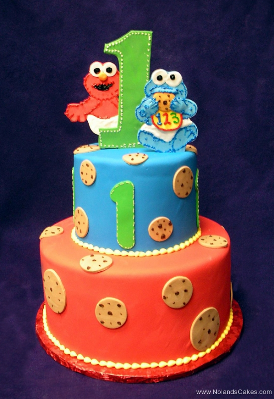 1888, first birthday, 1st birthday, elmo, cookie monster, sesame street, cookies, red, blue, green, tiered