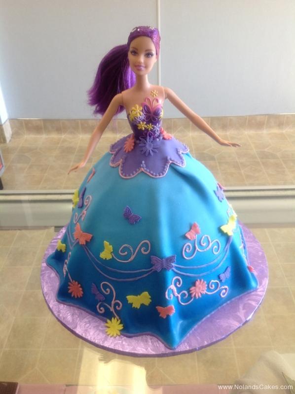 1896, birthday, barbie cake, dress, blue, purple, butterfly, butterflies, flower, flowers, carved