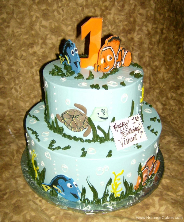 1905, first birthday, 1st birthday, finding nemo, fish, clownfish, dory, turtle, crush, squirt, marlin, ocean, sea, water, underwater, blue, green, tiered