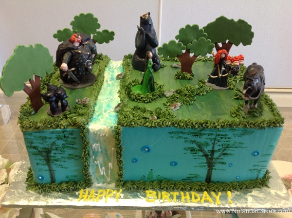 1923, birthday, brave, merida, disney, disney princess, forest, bear, bears, trees, water, waterfall, blue, green