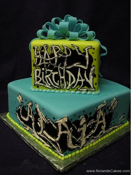 1938, birthday, green, blue, graffiti, black, white, square, tiered, bow, bows