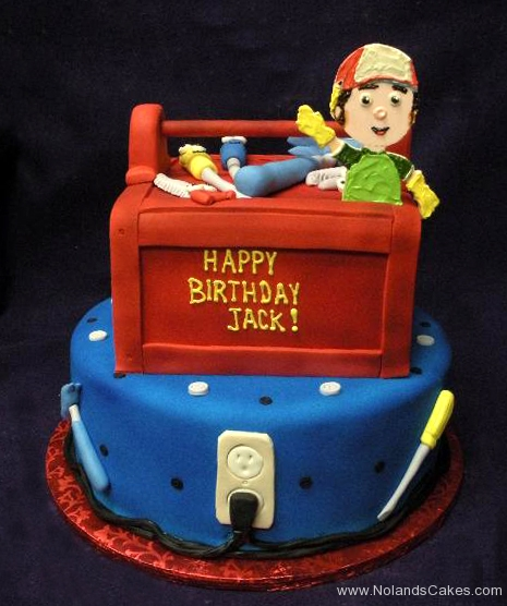 1949, birthday, handy manny, tool, tools, tool box, electricity, outlet, red, blue, tiered, carved