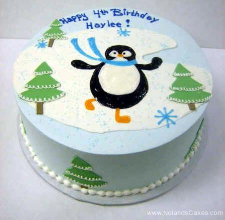 1953, 4th birthday, fourth birthday, penguin, tree, trees, ice, snowflake, snowflakes, blue, green, white