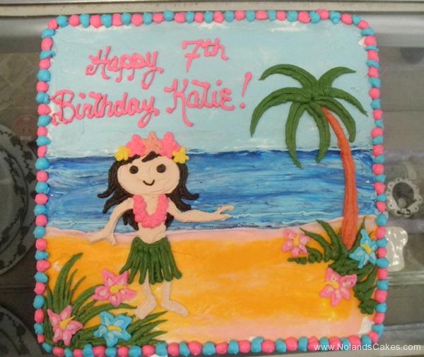 1965, 7th birthday, seventh birthday, hula, hawaii, beach, ocean, sea, tree, palm tree, flower, flowers, pink, blue