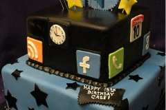159, birthday, 13th birthday, thirteenth birthday, social media, apps, facebook, phone, clock, calendar, google, stars, star, tiered, blue, black, yellow