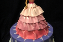 196, barbie, barbie cake, dress, pink, birthday, purple, diamonds, tiered, carved