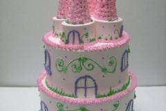 254, birthday, castle, tiered pink, purple, green,
