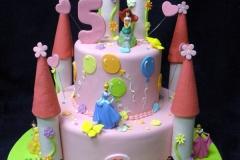 239, fifth birthday, tiered 5th birthday, castle, pink, balloons, disney, princess, ariel, cinderella, jasmine, sleeping beauty, snow white, aurora,