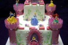 244, birthday, tiered princess, disney, castle, pink, purple, white, ariel, cinderella, jasmine, sleeping beauty, snow white, aurora, carved