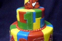 1885, first birthday, 1st birthday, elmo, sesame street, primary, bright, yellow, blue, green, red, tiered