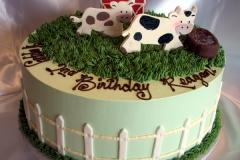 1899, second birthday, 2nd birthday, cow, farm, pasture, barn, barnyard, grass, green, blue