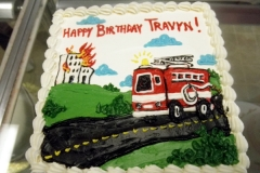 1913, birthday, fire truck, fire, truck, wee-oo, gras, road, street, house, green, red