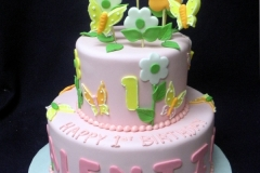 1929, first birthday, 1st birthday, butterfly, butterflies, flower, flowers, pink, green, yellow, tiered