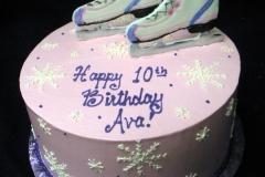 1969, 10th birthday, tenth birthday, ice, ice skating, skates, snow, snowflake, snowflakes, pink, white, blue